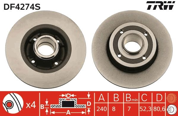 DF4274S Bremsscheibe TRW Test