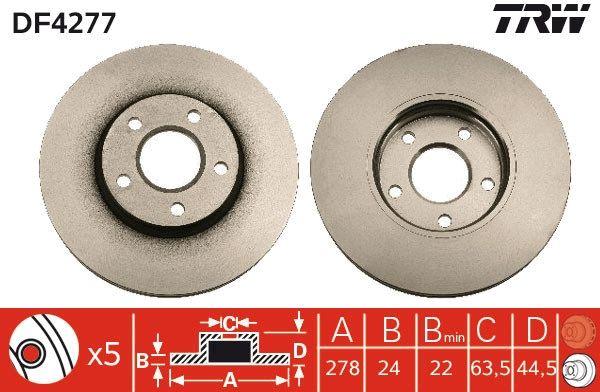 DF4277 TRW větráno, lakováno, vysoce nauhličeno R: 278mm, Počet děr: 5, Zesílený brzdový kotouč: 24mm Brzdový kotouč DF4277 kupte si levně