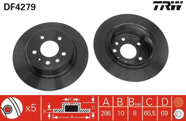 DF4279 TRW plný, lakováno R: 286mm, Počet děr: 5, Zesílený brzdový kotouč: 10mm Brzdový kotouč DF4279 kupte si levně