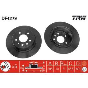 DF4279 TRW Voll, lackiert Ø: 286mm, Lochanzahl: 5, Bremsscheibendicke: 10mm Bremsscheibe DF4279 günstig kaufen