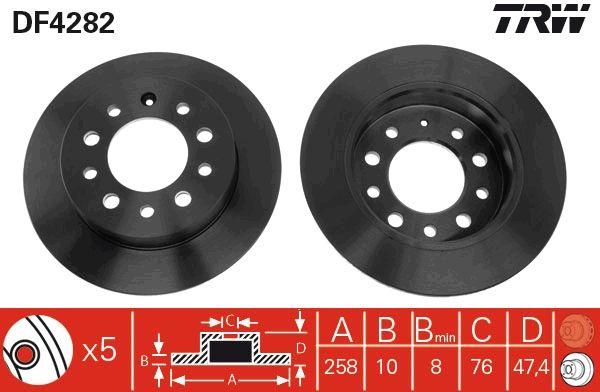 DF4282 TRW Voll, lackiert Ø: 257,8mm, Lochanzahl: 5, Bremsscheibendicke: 10mm Bremsscheibe DF4282 günstig kaufen