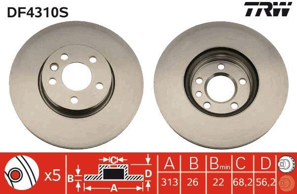 Achetez Disque TRW DF4310S (Ø: 313mm, Nbre de trous: 5, Épaisseur du disque de frein: 26mm) à un rapport qualité-prix exceptionnel
