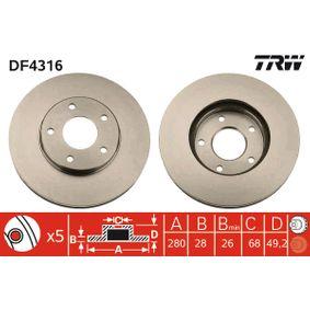 DF4316 TRW belüftet, lackiert Ø: 280mm, Lochanzahl: 5, Bremsscheibendicke: 28mm Bremsscheibe DF4316 günstig kaufen