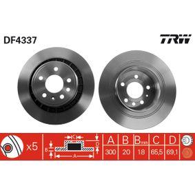 DF4337 TRW belüftet, lackiert Ø: 300mm, Lochanzahl: 5, Bremsscheibendicke: 20mm Bremsscheibe DF4337 günstig kaufen