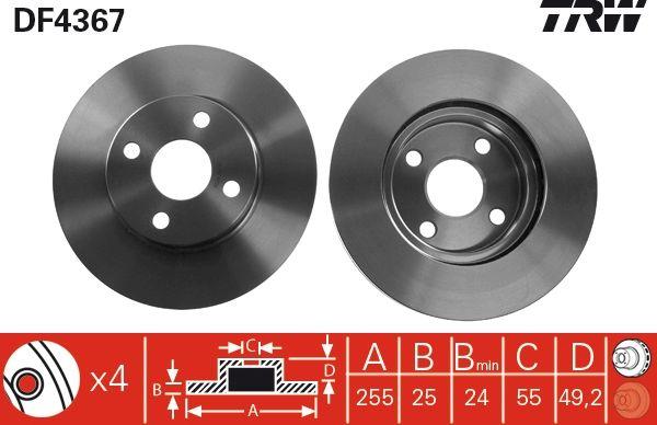 TRW: Original Scheibenbremsen DF4367 (Ø: 255mm, Lochanzahl: 4, Bremsscheibendicke: 25mm)