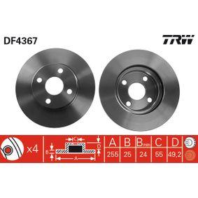 DF4367 TRW belüftet, lackiert Ø: 255mm, Lochanzahl: 4, Bremsscheibendicke: 25mm Bremsscheibe DF4367 günstig kaufen