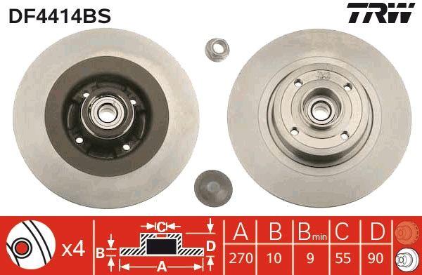 Origine Disques de frein TRW DF4414BS (Ø: 270mm, Nbre de trous: 4, Épaisseur du disque de frein: 10mm)