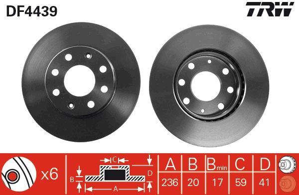 CHEVROLET MATIZ 2021 Bremsscheibe - Original TRW DF4439 Ø: 236mm, Lochanzahl: 6, Bremsscheibendicke: 20mm