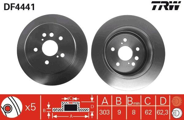 TRW: Original Bremsscheibe DF4441 (Ø: 303mm, Lochanzahl: 5, Bremsscheibendicke: 9mm)