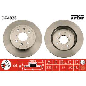 DF4826 TRW ventilado Ø: 253mm, N.º de furos: 4, Espessura do disco de travão: 17mm Disco de travão DF4826 comprar económica