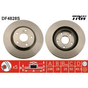 DF4828S TRW belüftet, lackiert Ø: 296mm, Lochanzahl: 5, Bremsscheibendicke: 28mm Bremsscheibe DF4828S günstig kaufen