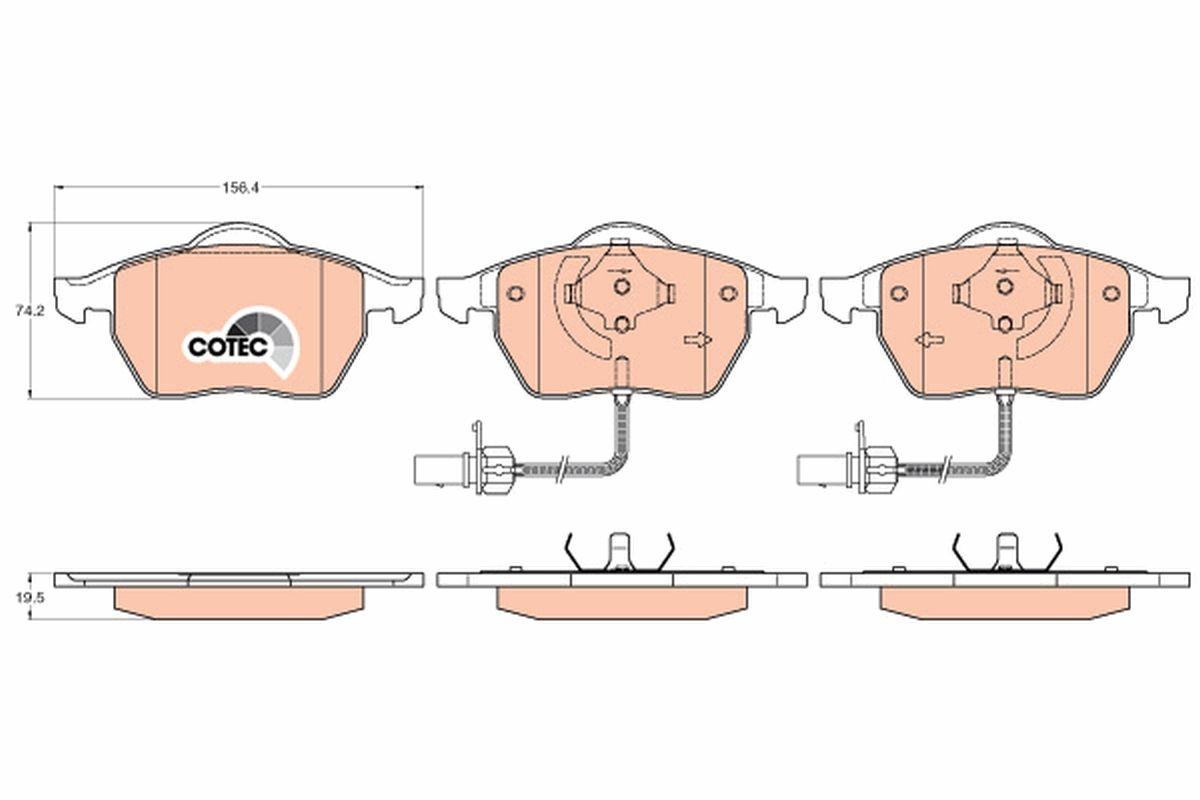 TRW   Zestaw klocków hamulcowych, hamulce tarczowe GDB1307