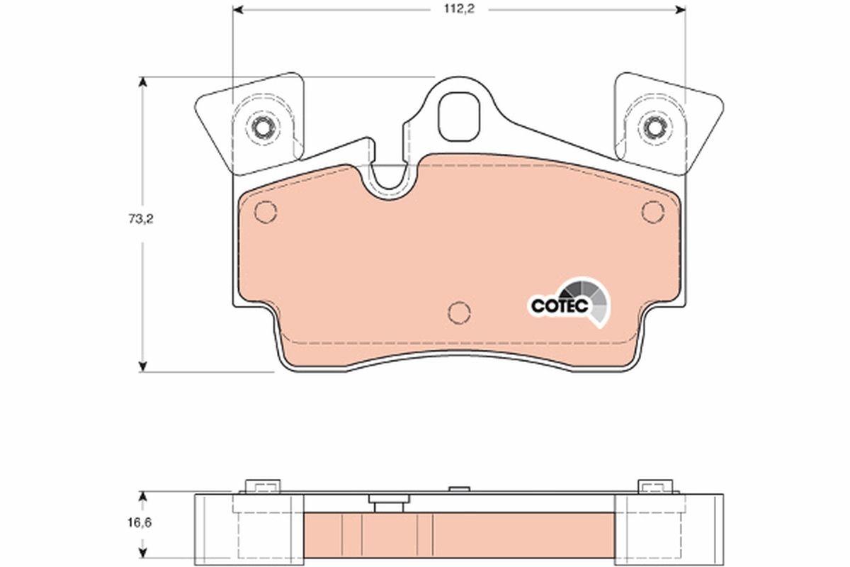 24010 TRW COTEC für Verschleißwarnanzeiger vorbereitet Höhe: 73,2mm, Dicke/Stärke: 16,6mm Bremsbelagsatz, Scheibenbremse GDB1652 günstig kaufen
