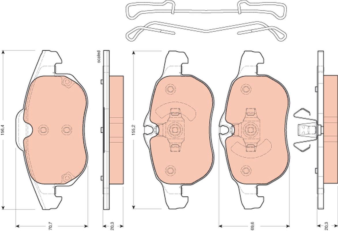 23403 TRW für Verschleißwarnanzeiger vorbereitet, mit Zubehör Höhe 1: 70,7mm, Höhe 2: 69,6mm, Dicke/Stärke: 20,3mm Bremsbelagsatz, Scheibenbremse GDB1657 günstig kaufen