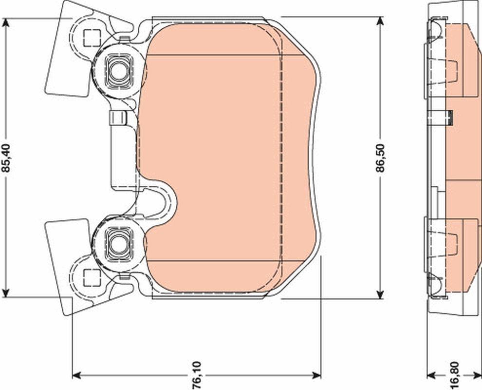 24315 TRW für Verschleißwarnanzeiger vorbereitet Höhe: 76,1mm, Dicke/Stärke: 16,8mm Bremsbelagsatz, Scheibenbremse GDB1795 günstig kaufen