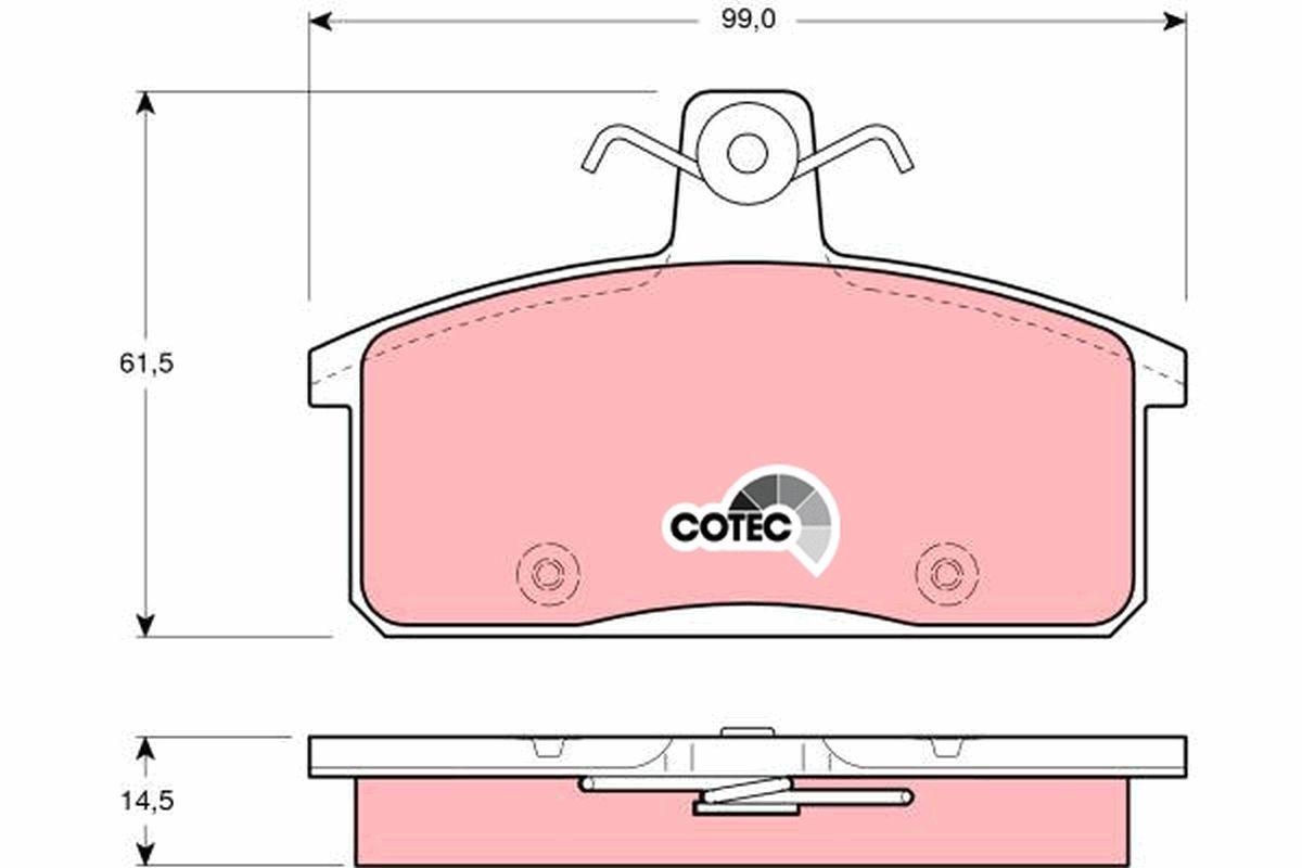 20708 TRW COTEC nicht für Verschleißwarnanzeiger vorbereitet Höhe: 61,5mm, Dicke/Stärke: 14,5mm Bremsbelagsatz, Scheibenbremse GDB3202 günstig kaufen