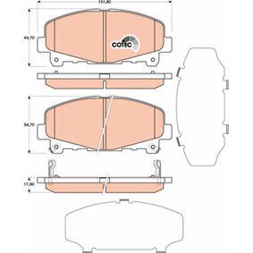 24786 TRW COTEC mit akustischer Verschleißwarnung Höhe: 64,7mm, Dicke/Stärke: 17,0mm Bremsbelagsatz, Scheibenbremse GDB3477 günstig kaufen