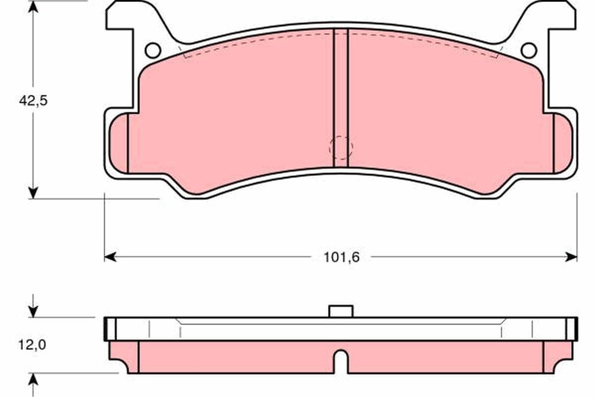 DAIHATSU GRAN MOVE 2019 Scheibenbremsbeläge - Original TRW GDB375 Höhe: 42,5mm, Dicke/Stärke: 12mm