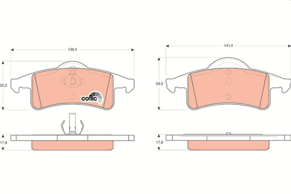 23339 TRW COTEC nicht für Verschleißwarnanzeiger vorbereitet Höhe: 59,2mm, Dicke/Stärke: 17,8mm Bremsbelagsatz, Scheibenbremse GDB4127 günstig kaufen