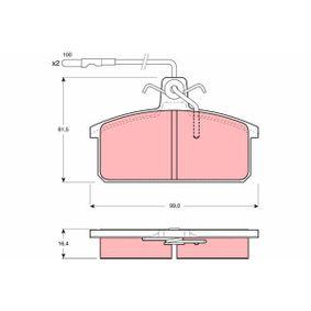 20847 TRW inkl. Verschleißwarnkontakt, mit Bremssattelschrauben, mit Zubehör Höhe: 61,5mm, Dicke/Stärke: 16,4mm Bremsbelagsatz, Scheibenbremse GDB422 günstig kaufen