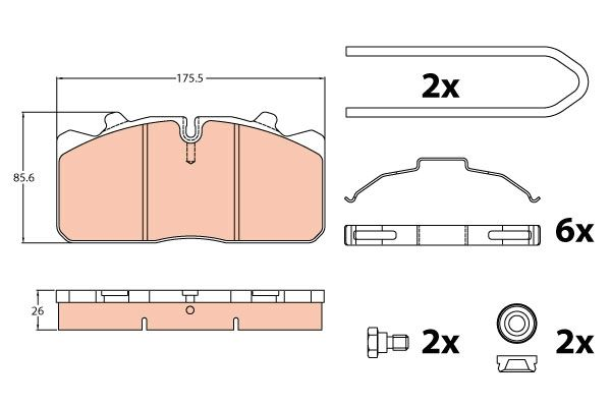 TRW Brake Pad Set, disc brake for IVECO - item number: GDB5069
