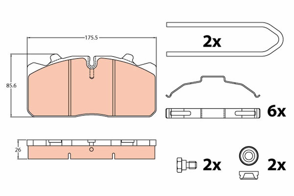 TRW Zestaw klocków hamulcowych, hamulce tarczowe do IVECO - numer produktu: GDB5069