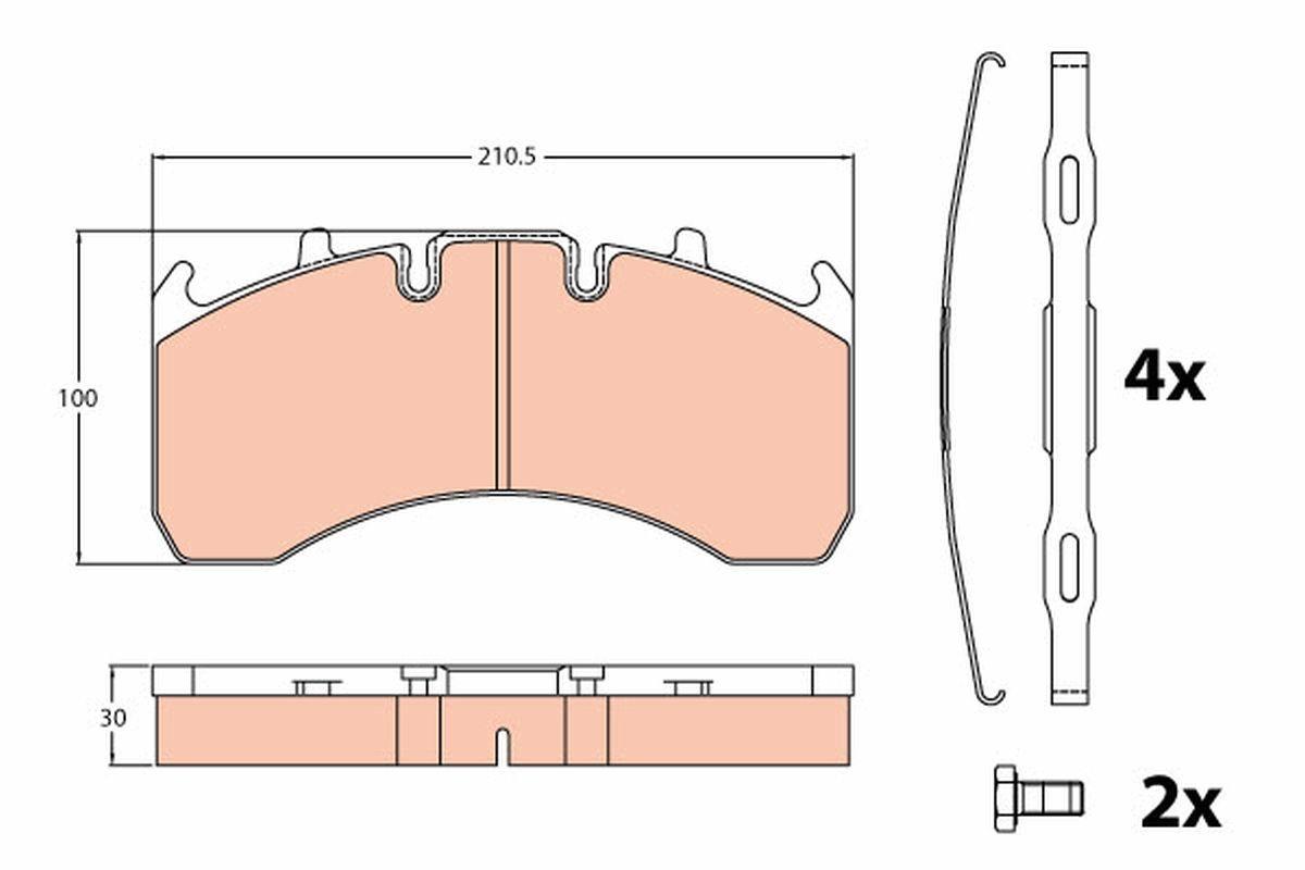 Kit de plaquettes de frein, frein à disque TRW pour VOLVO, n° d'article GDB5098