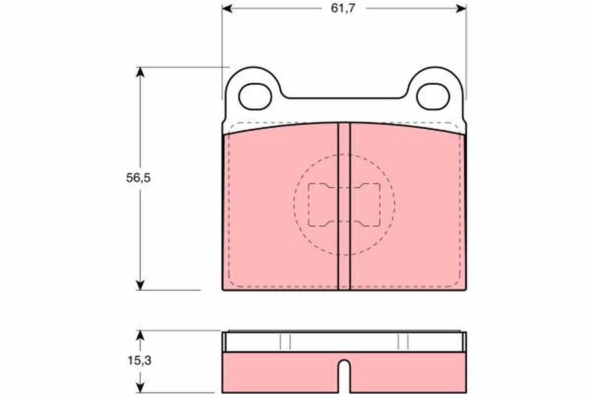 Bremsklötze VW Polo 86c hinten + vorne 1988 - TRW GDB648 (Höhe: 56,5mm, Dicke/Stärke: 15,3mm)