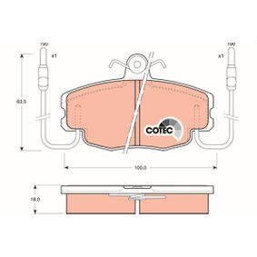 20938 TRW COTEC inkl. Verschleißwarnkontakt, mit Bremssattelschrauben, mit Zubehör Höhe: 63,5mm, Dicke/Stärke: 18,0mm Bremsbelagsatz, Scheibenbremse GDB807 günstig kaufen