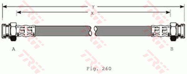 MAZDA MX-3 1993 Rohre und Schläuche - Original TRW PHA368 Länge: 308mm, Gewindemaß 1: M10x1, Gewindemaß 2: M10x1