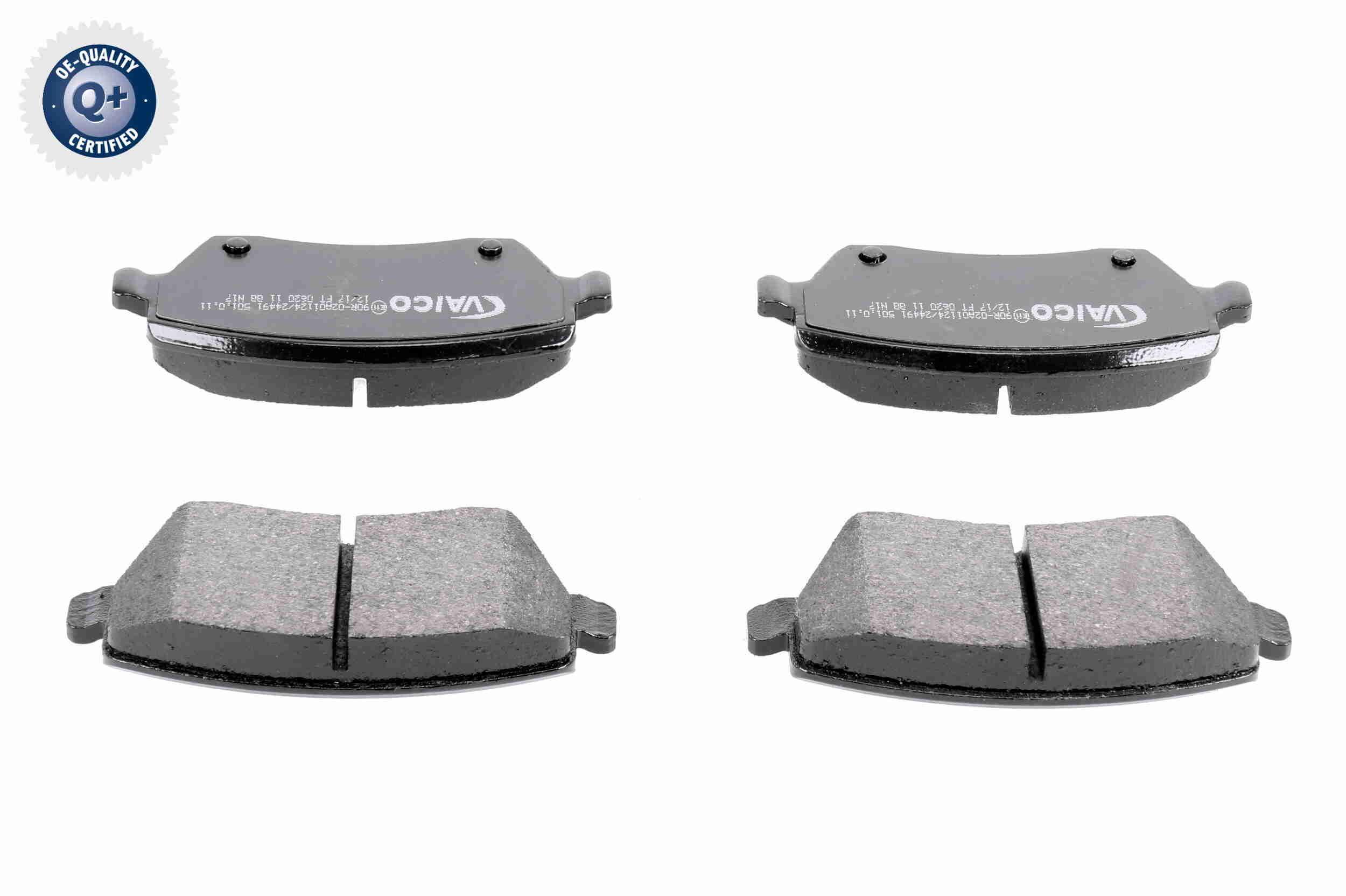 WVA23973 VAICO Q+, Erstausrüsterqualität, Vorderachse, exkl. Verschleißwarnkontakt, nicht für Verschleißwarnanzeiger vorbereitet, mit Bremssattelschrauben Höhe: 52,4mm, Breite: 116,3mm, Dicke/Stärke: 17,4mm Bremsbelagsatz, Scheibenbremse V46-0157 günstig kaufen