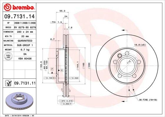09.7131.14 BREMBO Innenbelüftet Ø: 280mm, Lochanzahl: 5, Bremsscheibendicke: 24mm Bremsscheibe 09.7131.14 günstig kaufen