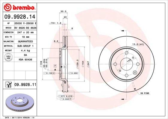 09.9928.14 Bremsscheibe BREMBO in Original Qualität