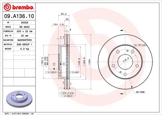 09.A136.10 BREMBO Innenbelüftet Ø: 250mm, Lochanzahl: 5, Bremsscheibendicke: 22mm Bremsscheibe 09.A136.10 günstig kaufen