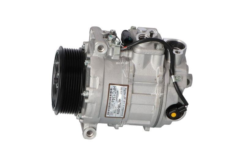 32216 NRF EASY FIT PAG 46, Kältemittel: R 134a, mit PAG-Kompressoröl Riemenscheiben-Ø: 100mm, Anzahl der Rillen: 7 Klimakompressor 32216 günstig kaufen
