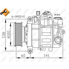 32263 NRF EASY FIT PAG 46, Kältemittel: R 134a, mit PAG-Kompressoröl Riemenscheiben-Ø: 100mm, Anzahl der Rillen: 6 Kompressor, Klimaanlage 32263 günstig kaufen