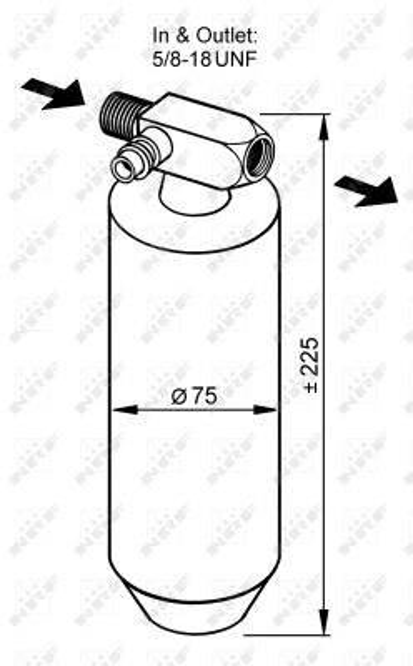 NRF: Original Trockner Klimaanlage 33079 (Ø: 75mm, Höhe: 225mm)