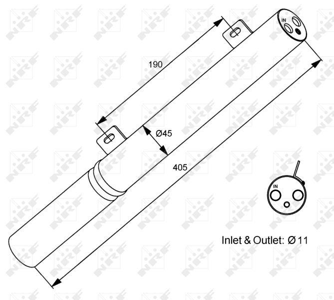 NRF: Original Trockner Klimaanlage 33196 (Ø: 45mm, Höhe: 405mm)
