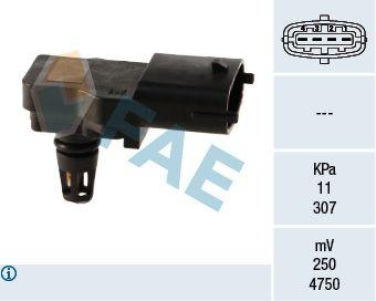 NISSAN JUKE 2017 Sensor, Saugrohrdruck - Original FAE 15036 Pol-Anzahl: 4-polig