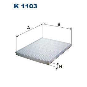 Filter, zrak notranjega prostora K1103 za FIAT BRAVA po znižani ceni - kupi zdaj!