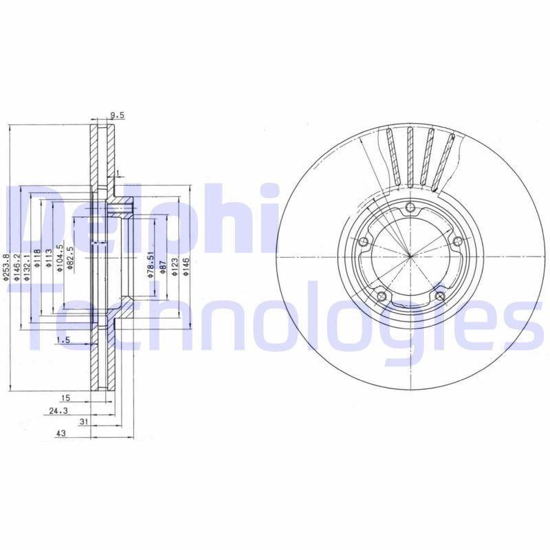 Купете BG3365 DELPHI вентилиран, без покритие, необработен Ø: 254мм, дебелина на спирачния диск: 24мм Спирачен диск BG3365 евтино