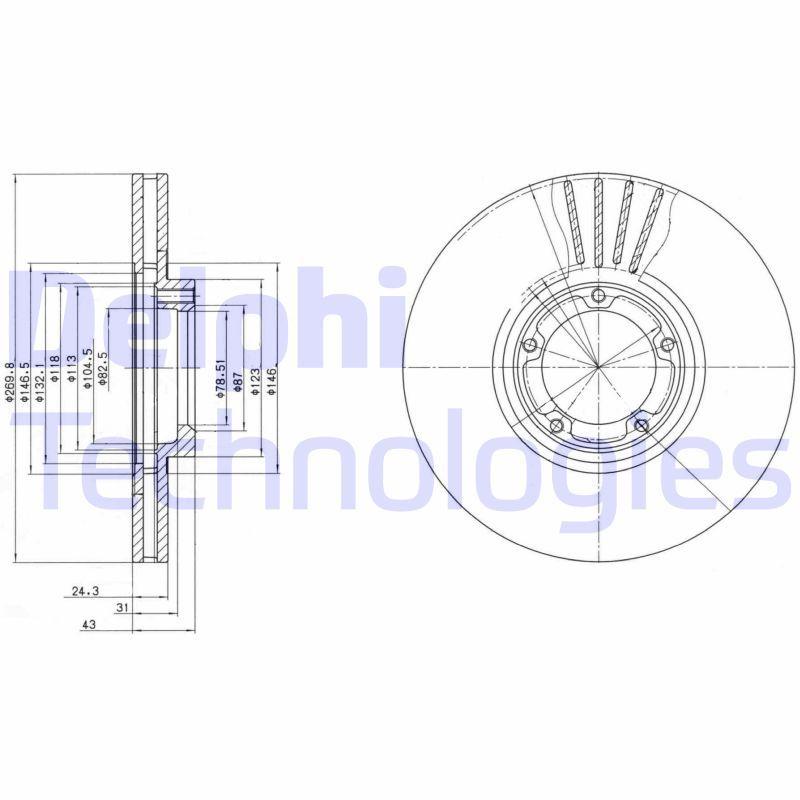 Купете BG3366 DELPHI вентилиран, необработен Ø: 270мм, дебелина на спирачния диск: 24мм Спирачен диск BG3366 евтино