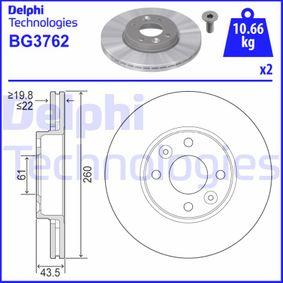 BG3762 DELPHI belüftet Ø: 260mm, Lochanzahl: 4, Bremsscheibendicke: 22mm Bremsscheibe BG3762 günstig kaufen