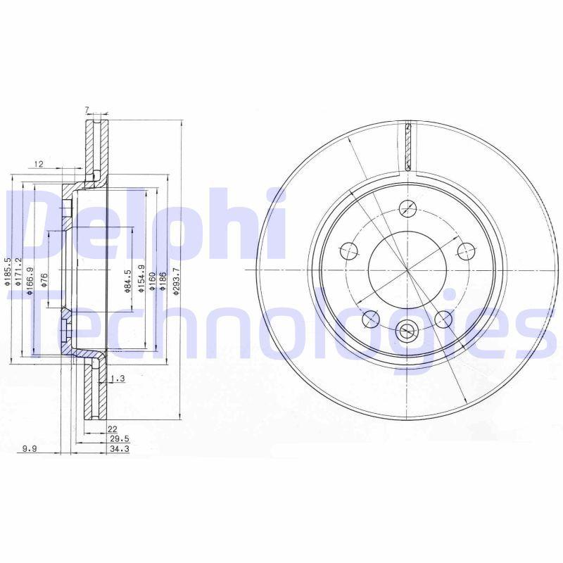 Volkswagen MULTIVAN DELPHI Disque de frein BG3893
