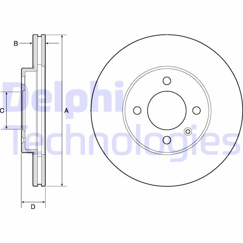 BG2455 DELPHI belüftet, unbehandelt Ø: 256mm, Bremsscheibendicke: 20mm Bremsscheibe BG2455 günstig kaufen