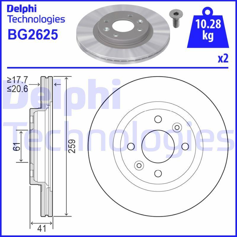 BG2625 Stabdžių diskas DELPHI Test
