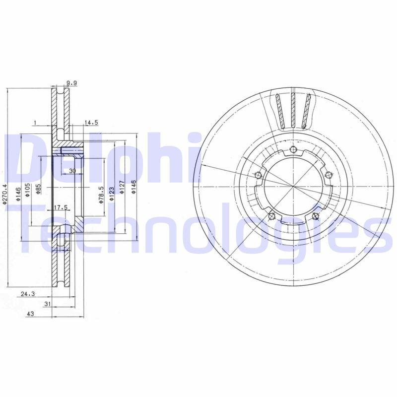 Купете BG2663 DELPHI вентилиран, необработен Ø: 270мм, дебелина на спирачния диск: 24мм Спирачен диск BG2663 евтино