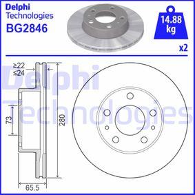 BG2846 DELPHI belüftet Ø: 280mm, Lochanzahl: 5, Bremsscheibendicke: 24mm Bremsscheibe BG2846 günstig kaufen