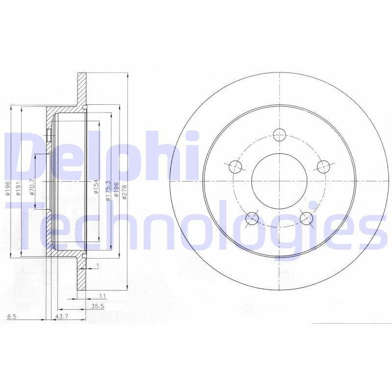 CHEVROLET CAPRICE 2000 Bremsscheibe - Original DELPHI BG3143 Ø: 279mm, Bremsscheibendicke: 11mm