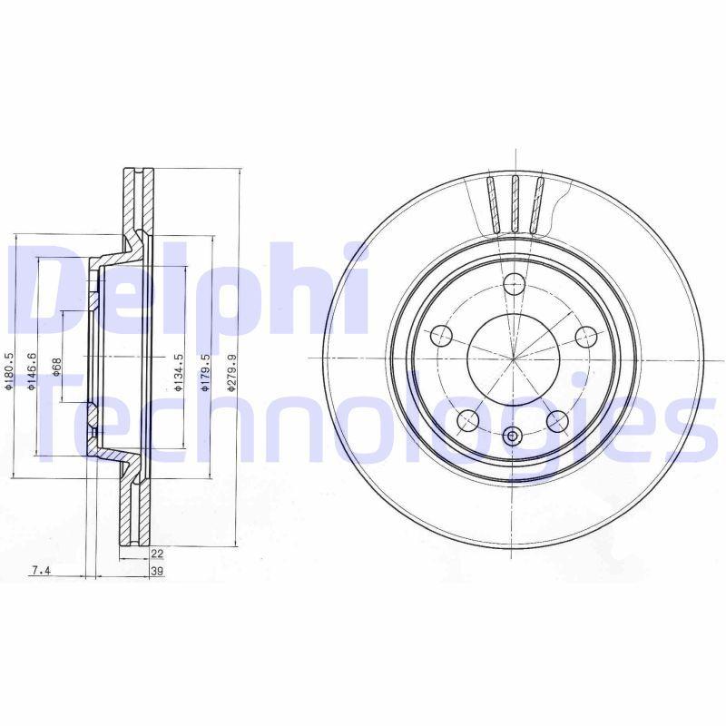 Achetez Disque de frein DELPHI BG3198 (Ø: 280mm, Épaisseur du disque de frein: 22mm) à un rapport qualité-prix exceptionnel